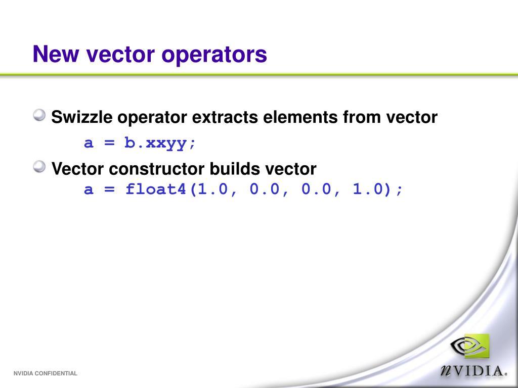New vector operators