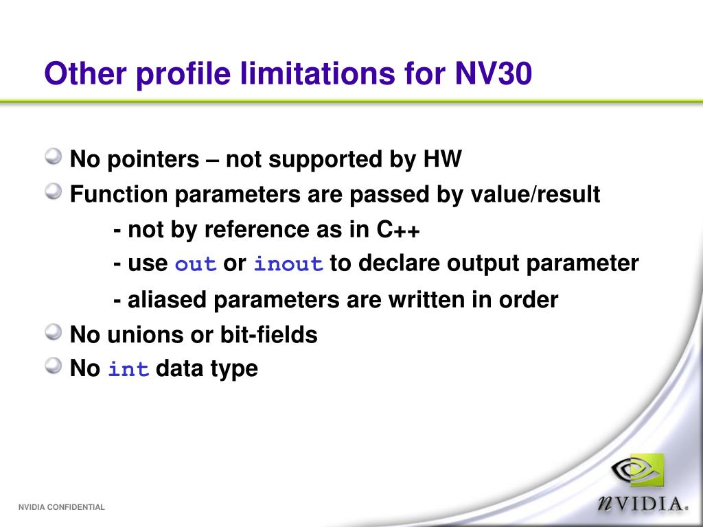 Other profile limitations for NV30