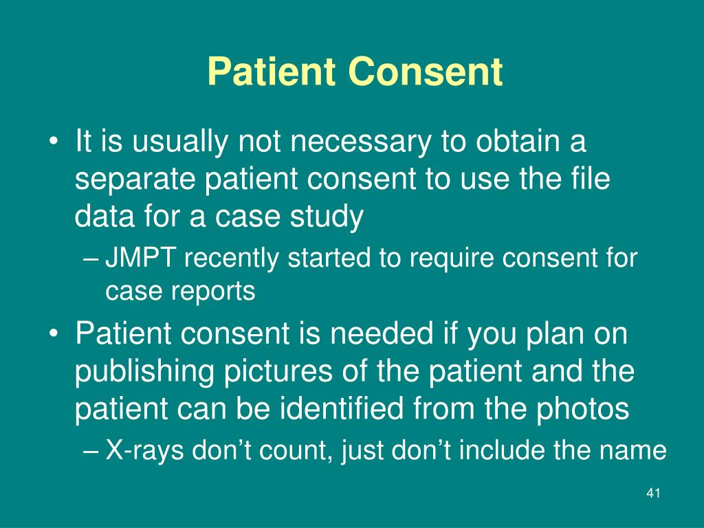 It is usually not necessary to obtain a separate patient consent to use the file data for a case study