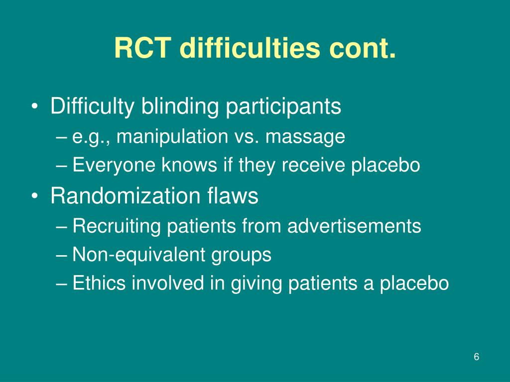 RCT difficulties cont.