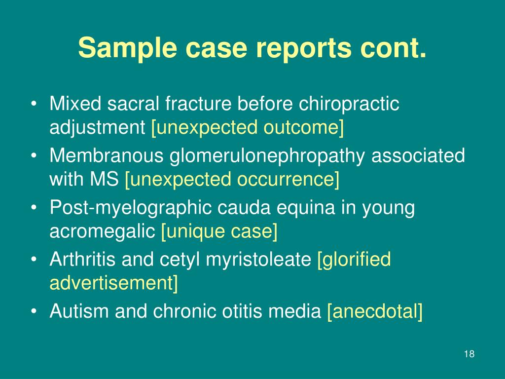 Sample case reports cont.