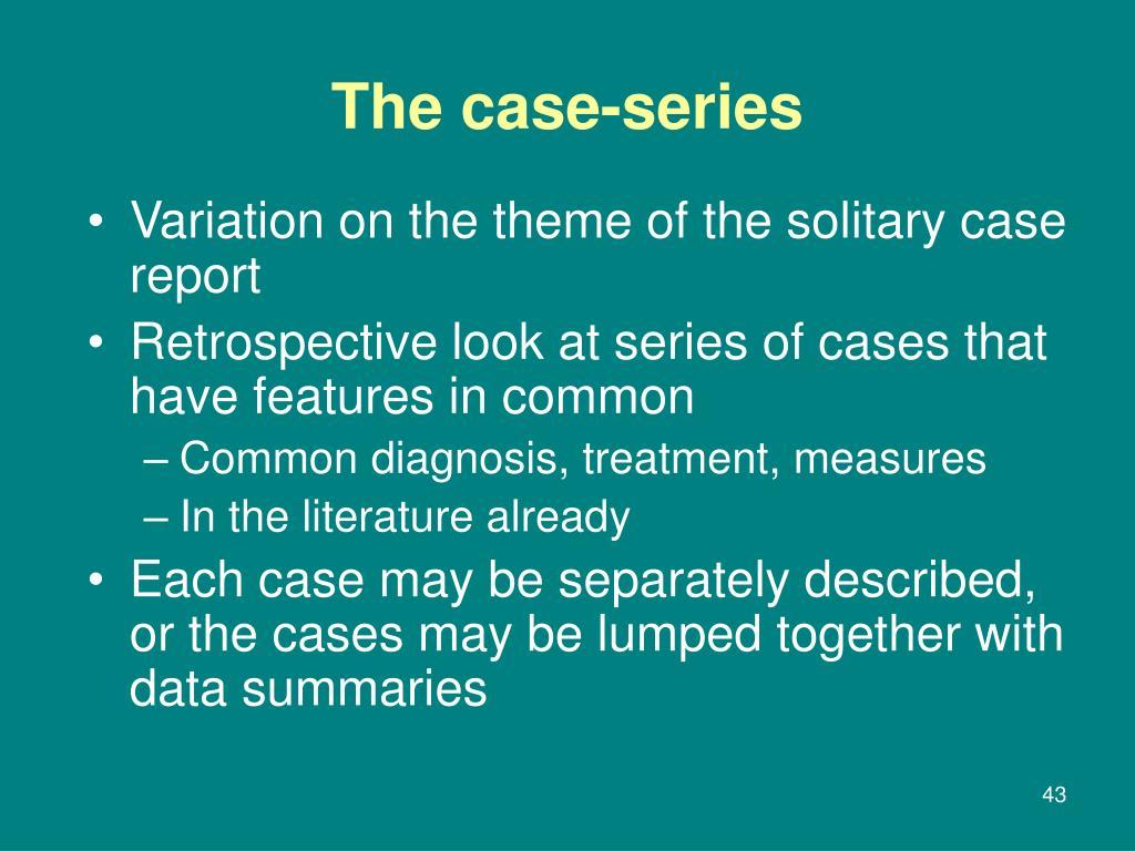 Variation on the theme of the solitary case report