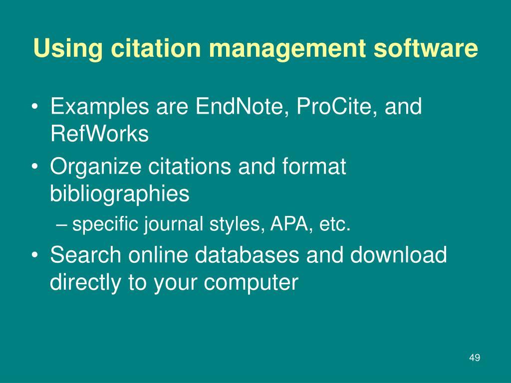Using citation management software