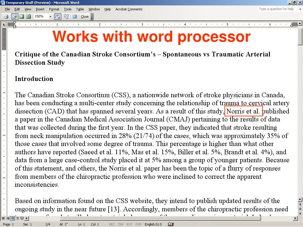 Works with word processor