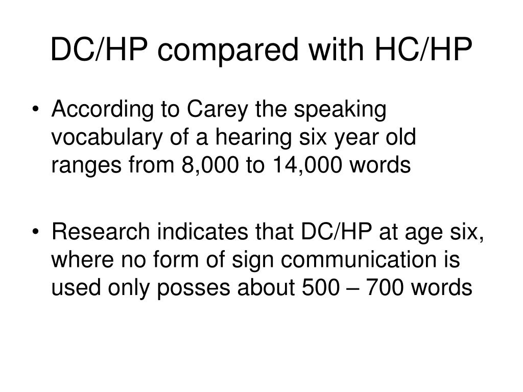 DC/HP compared with HC/HP