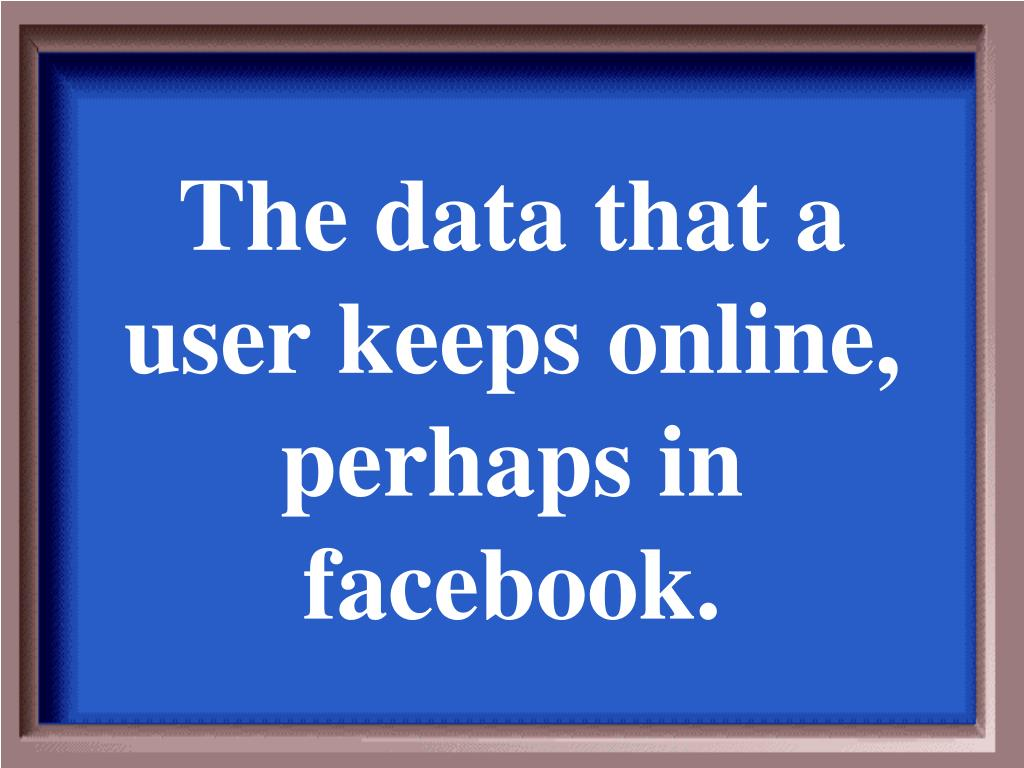The data that a user keeps online, perhaps in facebook.