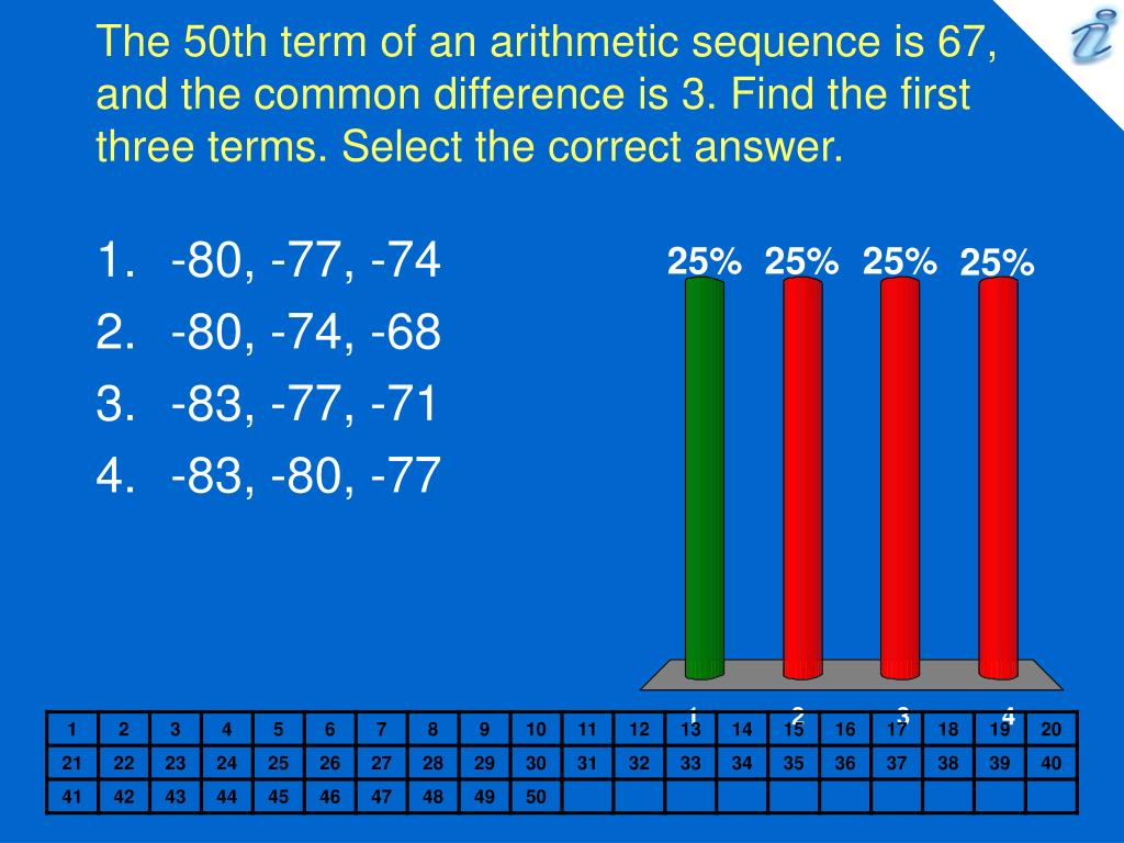 The 50th term of an arithmetic sequence is 67, and the common difference is 3. Find the first three terms. Select the correct answer.