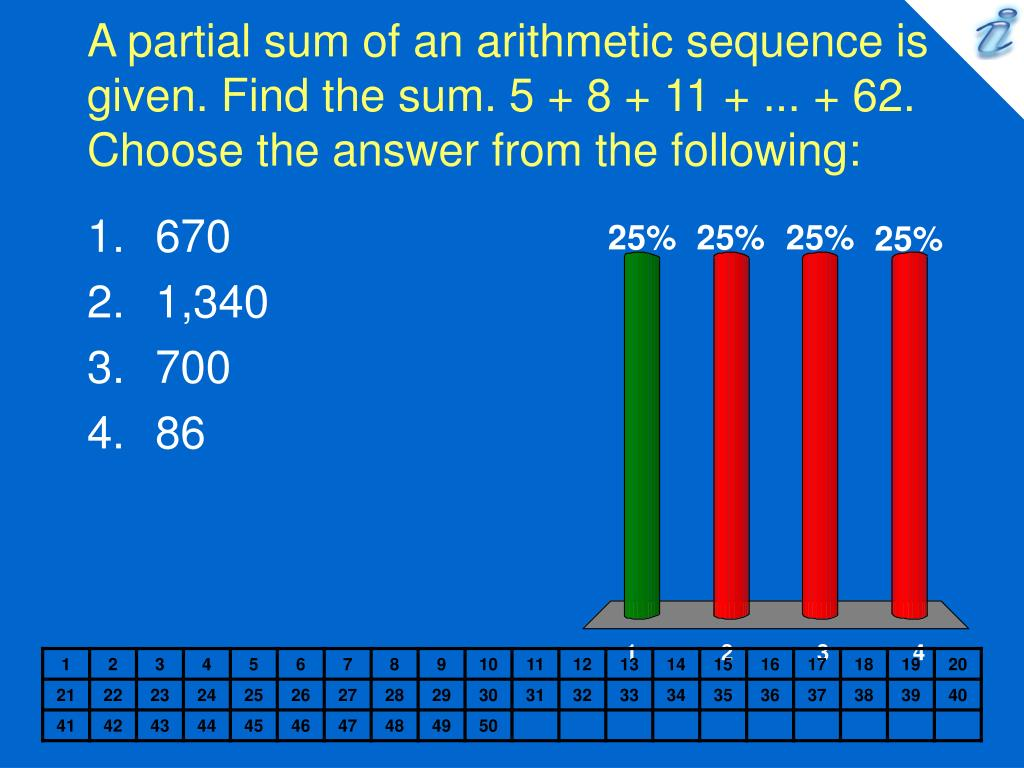 A partial sum of an arithmetic sequence is given. Find the sum. 5 + 8 + 11 + ... + 62. Choose the answer from the following: