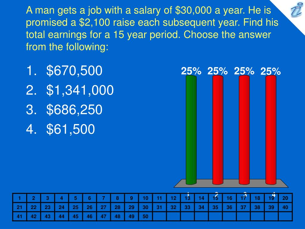 A man gets a job with a salary of $30,000 a year. He is promised a $2,100 raise each subsequent year. Find his total earnings for a 15 year period. Choose the answer from the following: