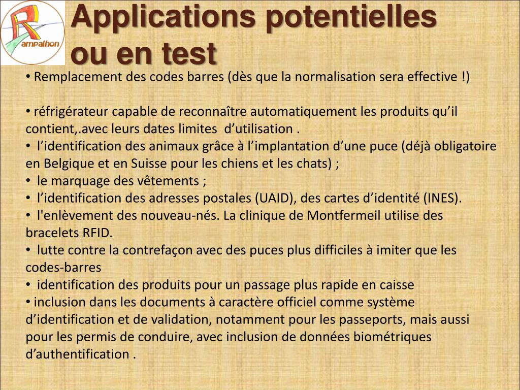 Applications potentielles