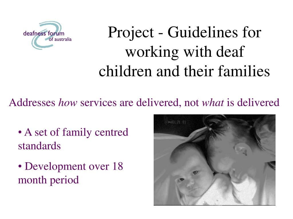 Project - Guidelines for working with deaf children and their families