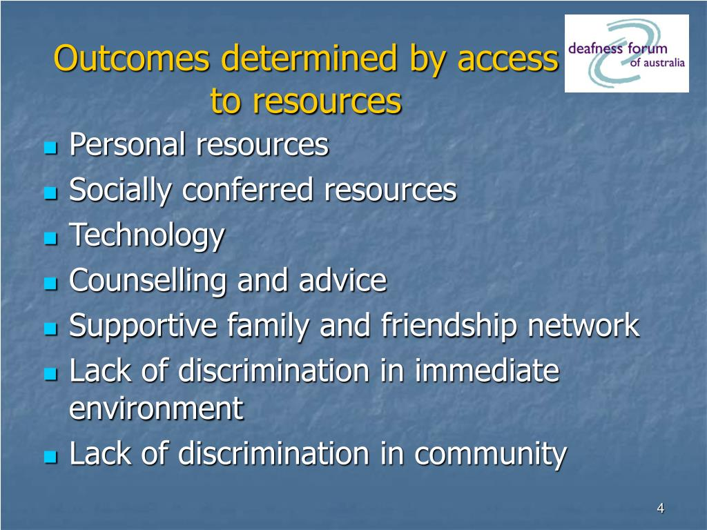 Outcomes determined by access to resources