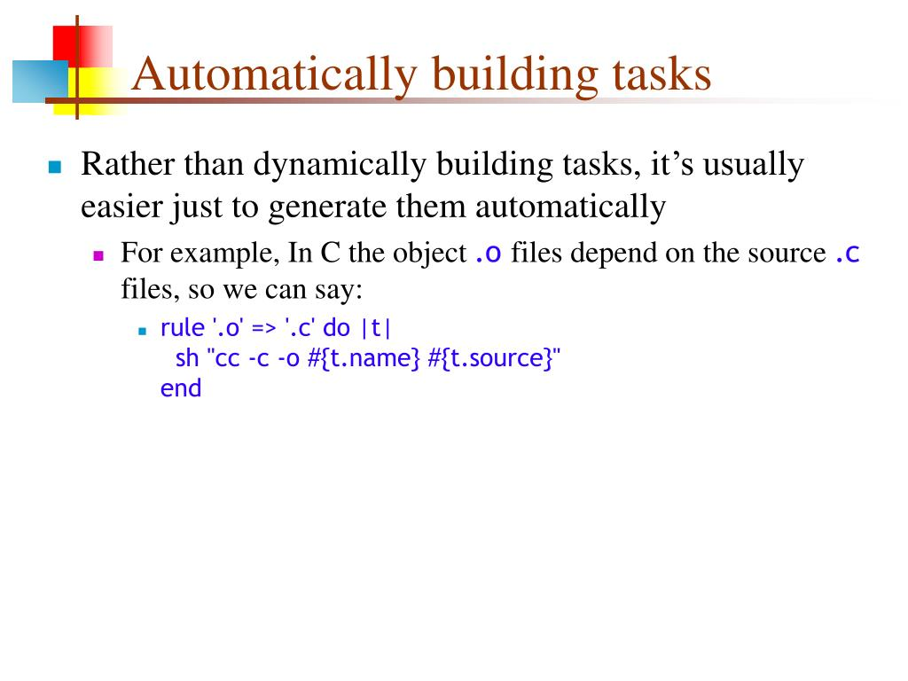 Automatically building tasks