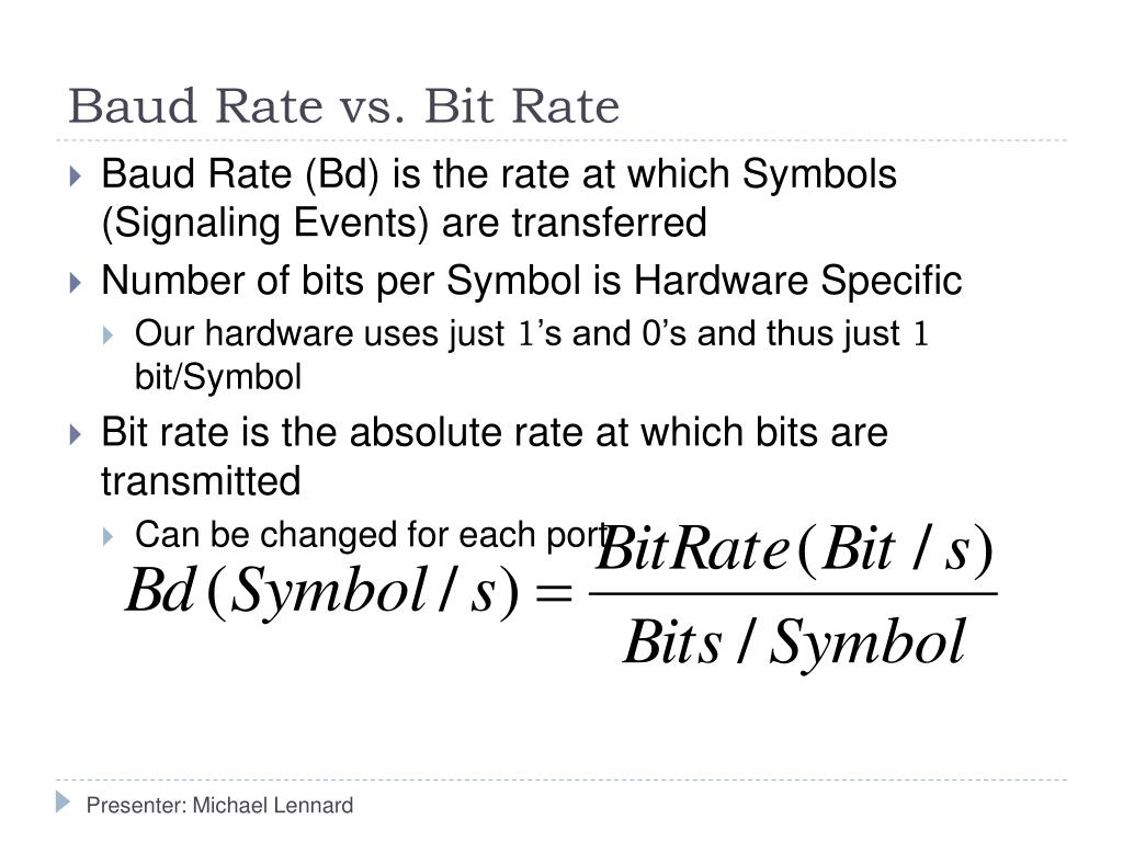 Baud Rate vs. Bit Rate