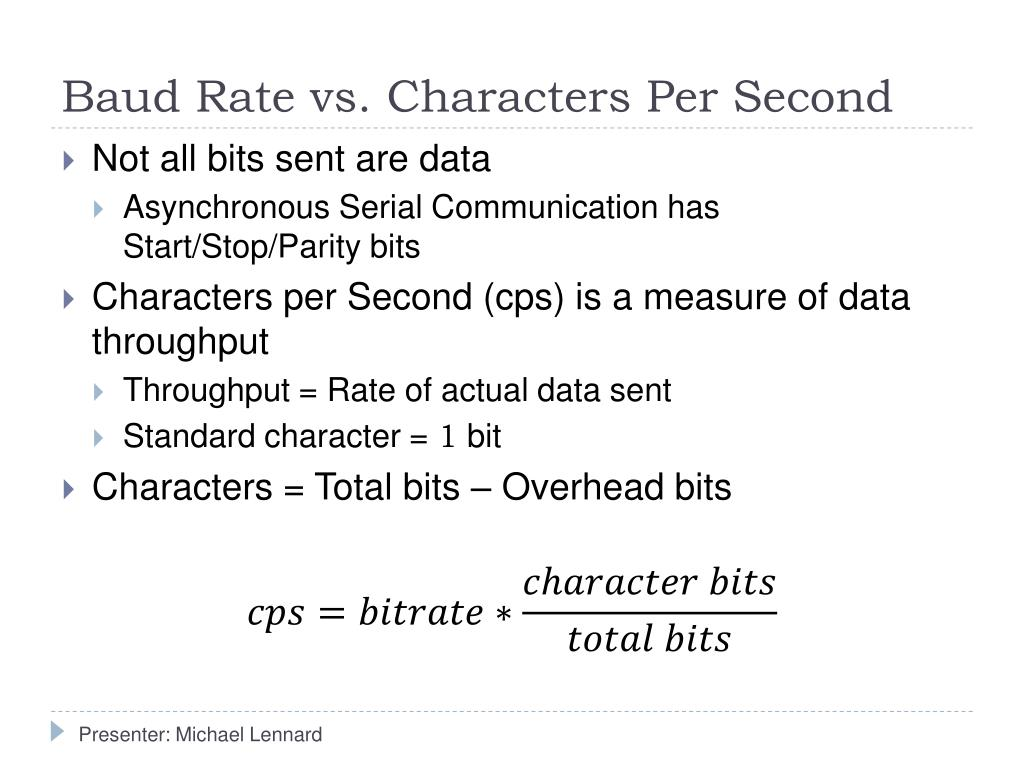 Baud Rate vs. Characters Per Second