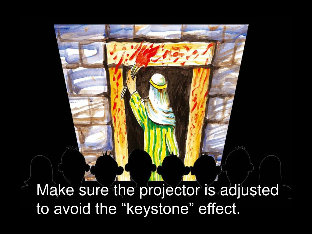 "Make sure the projector is adjusted to avoid the ""keystone"" effect."
