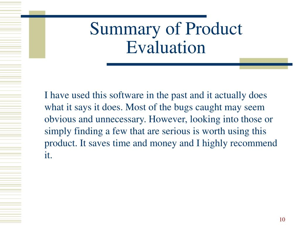 Summary of Product Evaluation