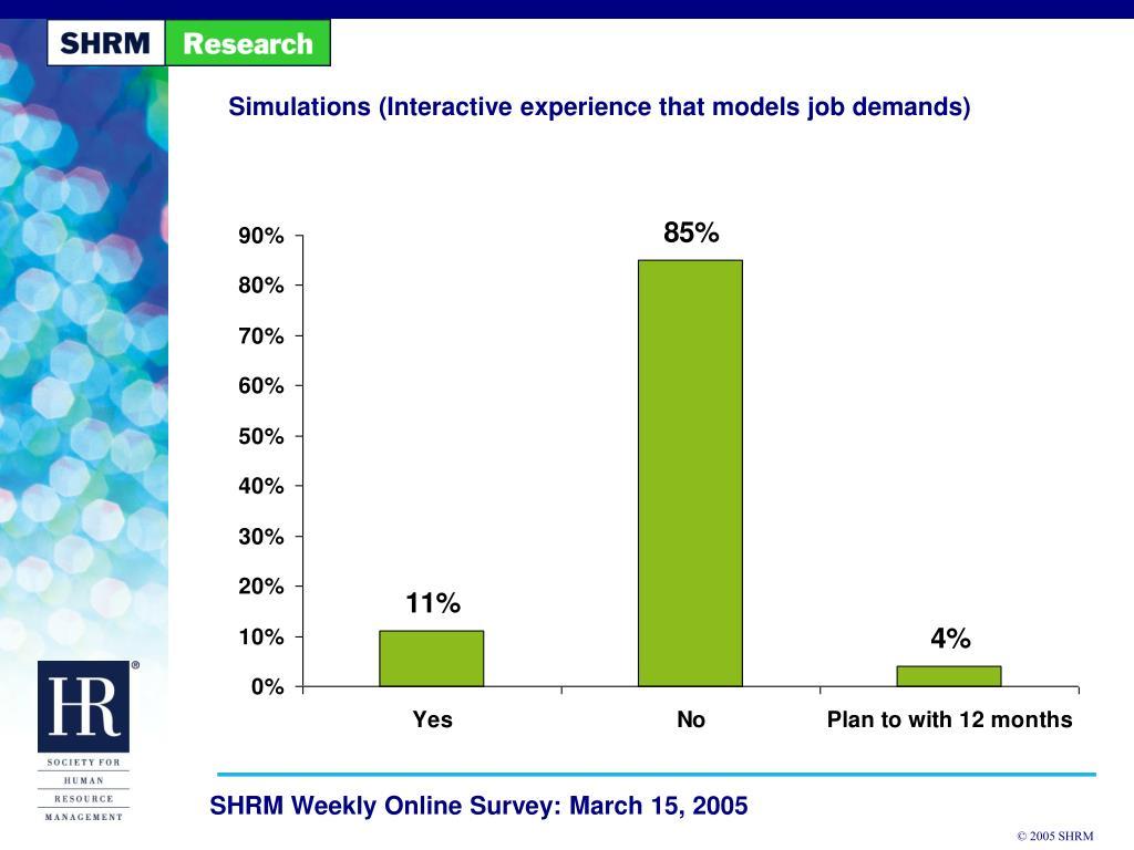 Simulations (Interactive experience that models job demands)