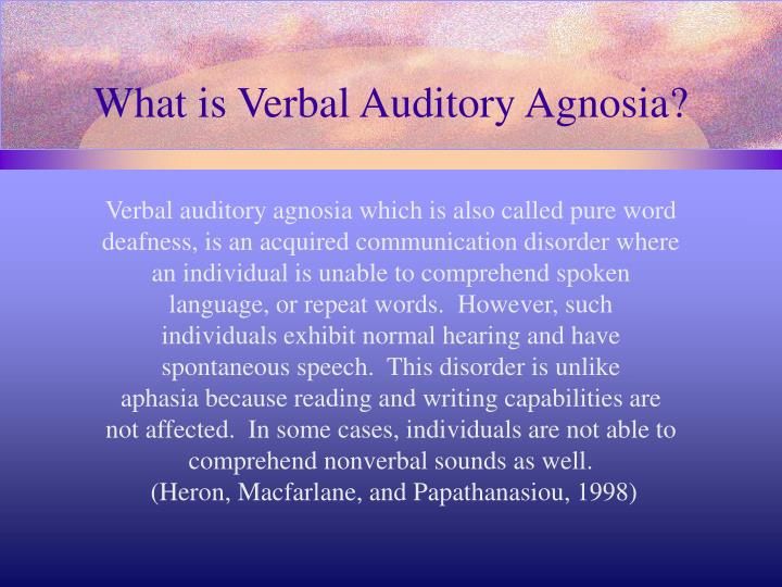 What is verbal auditory agnosia