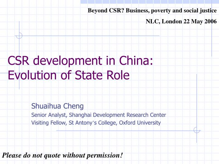 Csr development in china evolution of state role l.jpg