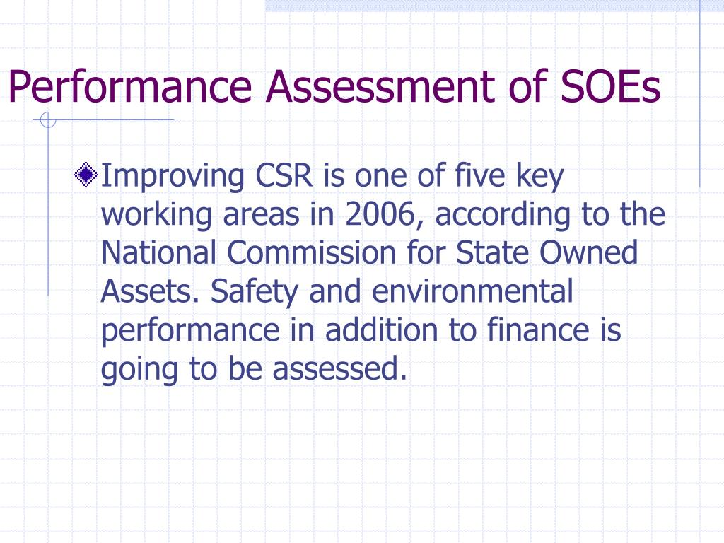 Performance Assessment of SOEs