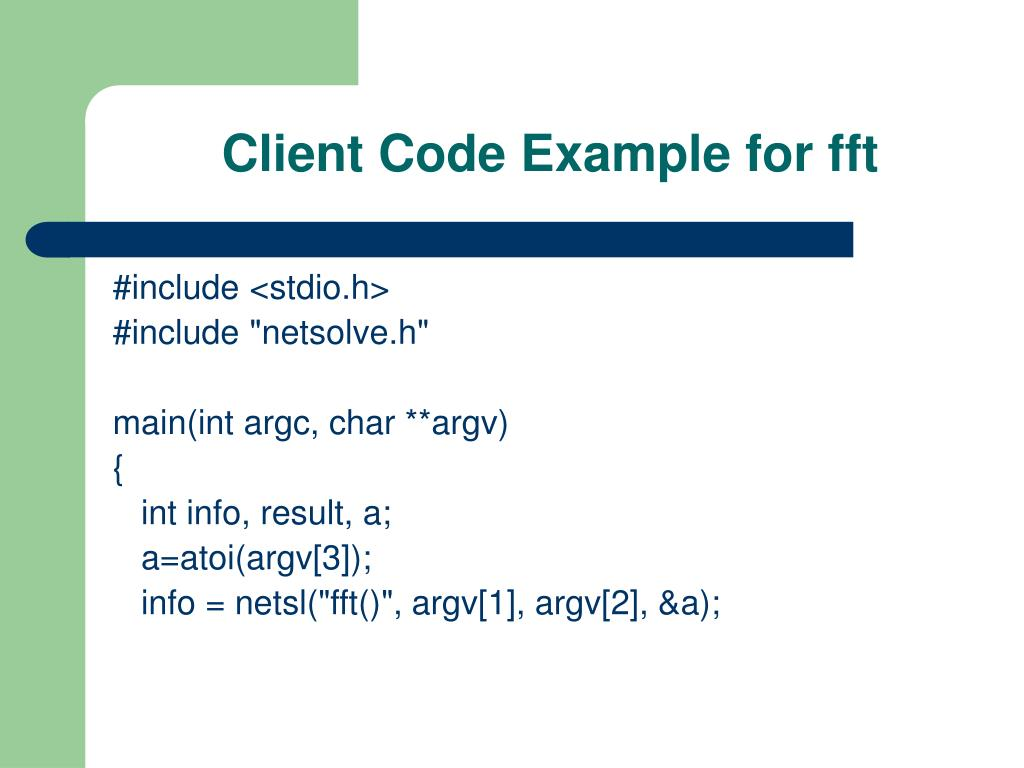 Client Code Example for fft
