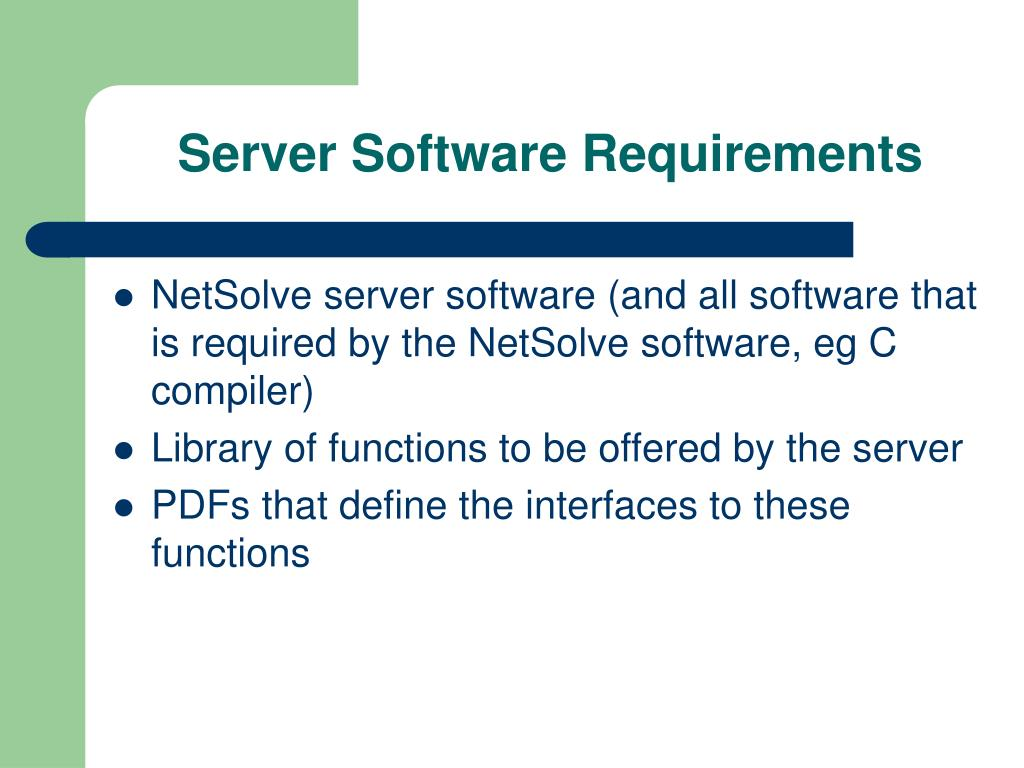 Server Software Requirements