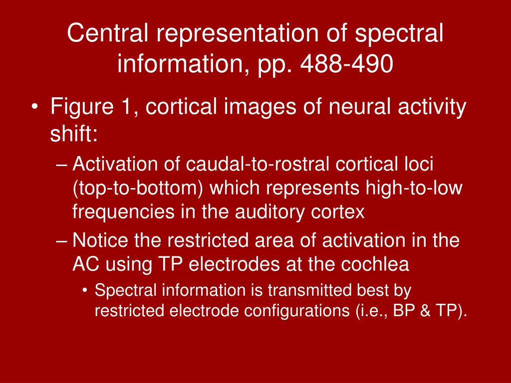 Central representation of spectral information, pp. 488-490