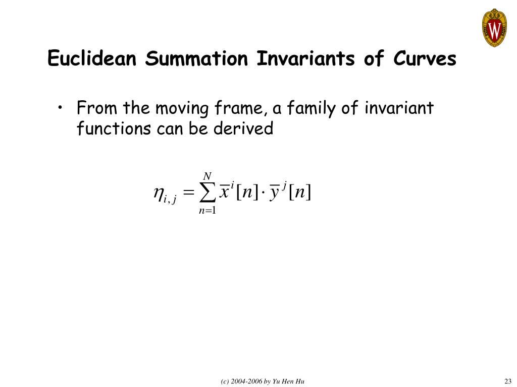 Euclidean Summation Invariants of Curves