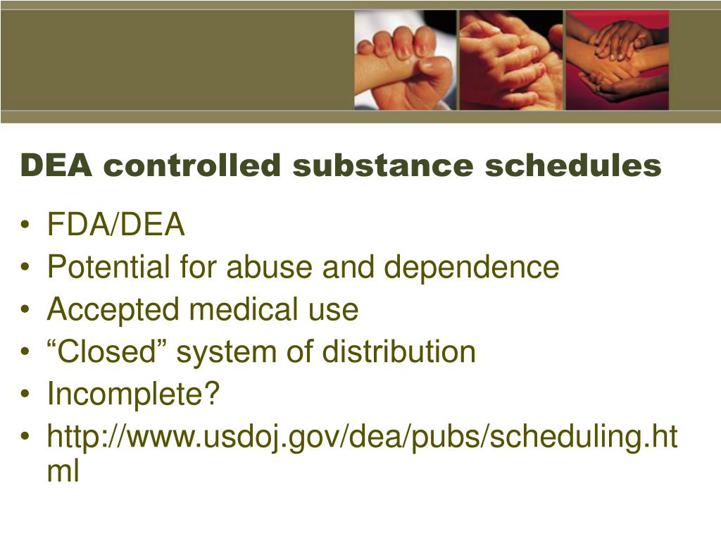 DEA controlled substance schedules