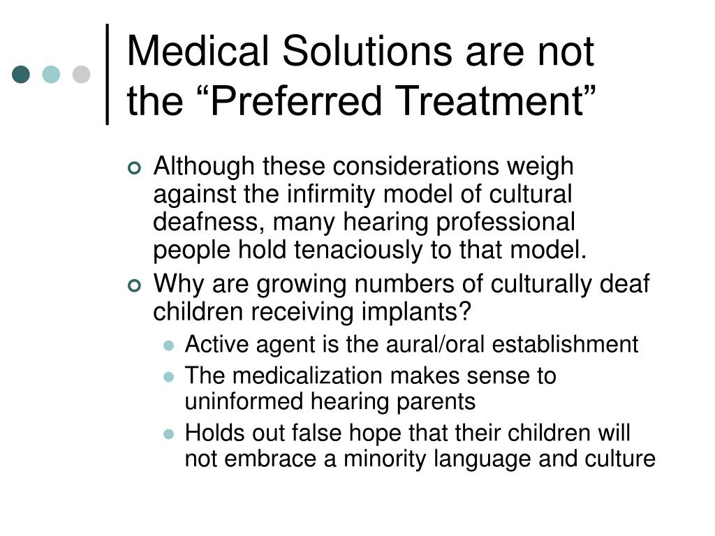"""Medical Solutions are not the """"Preferred Treatment"""""""