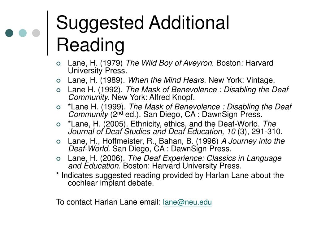 Suggested Additional Reading