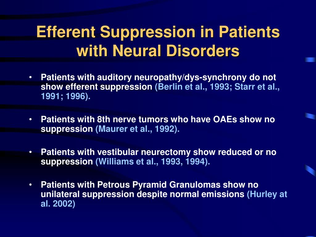 Efferent Suppression in Patients with Neural Disorders