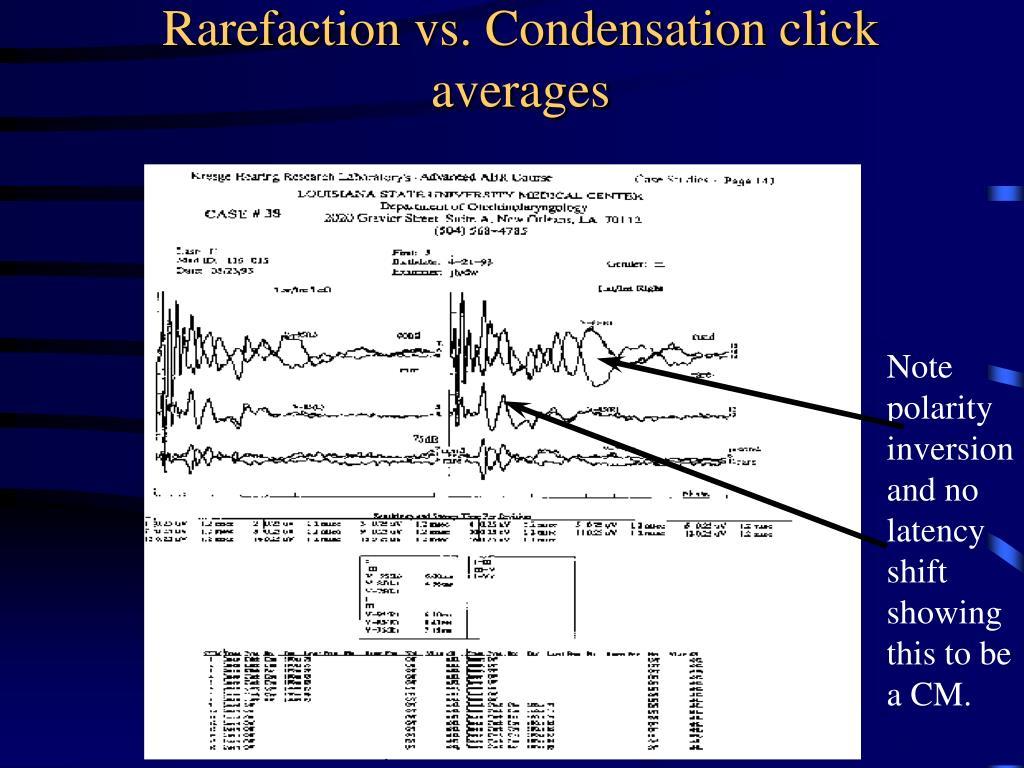 Rarefaction vs. Condensation click averages