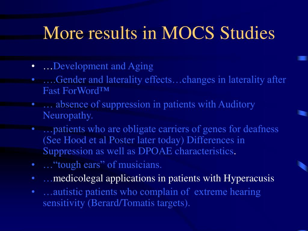 More results in MOCS Studies