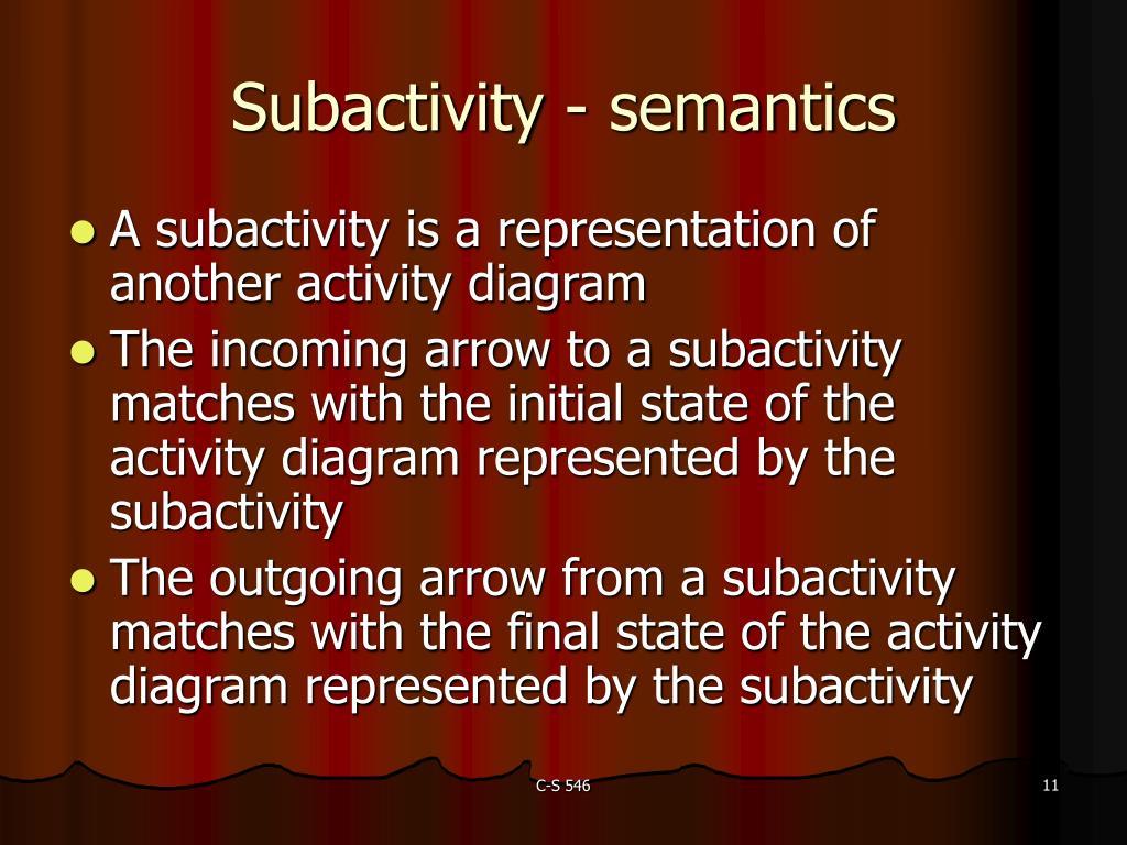 Subactivity - semantics