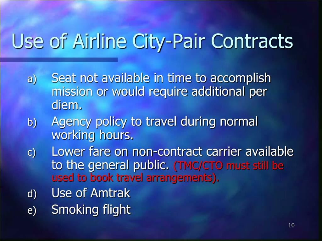 Use of Airline City-Pair Contracts