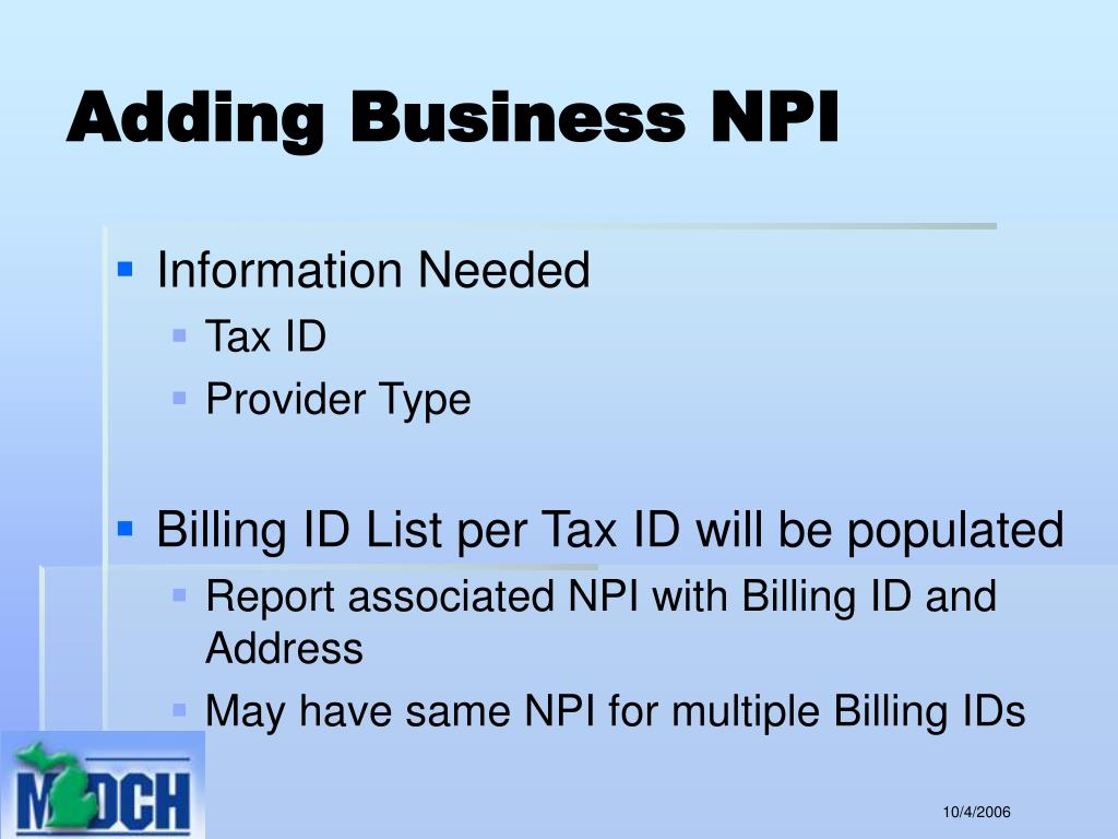 Adding Business NPI