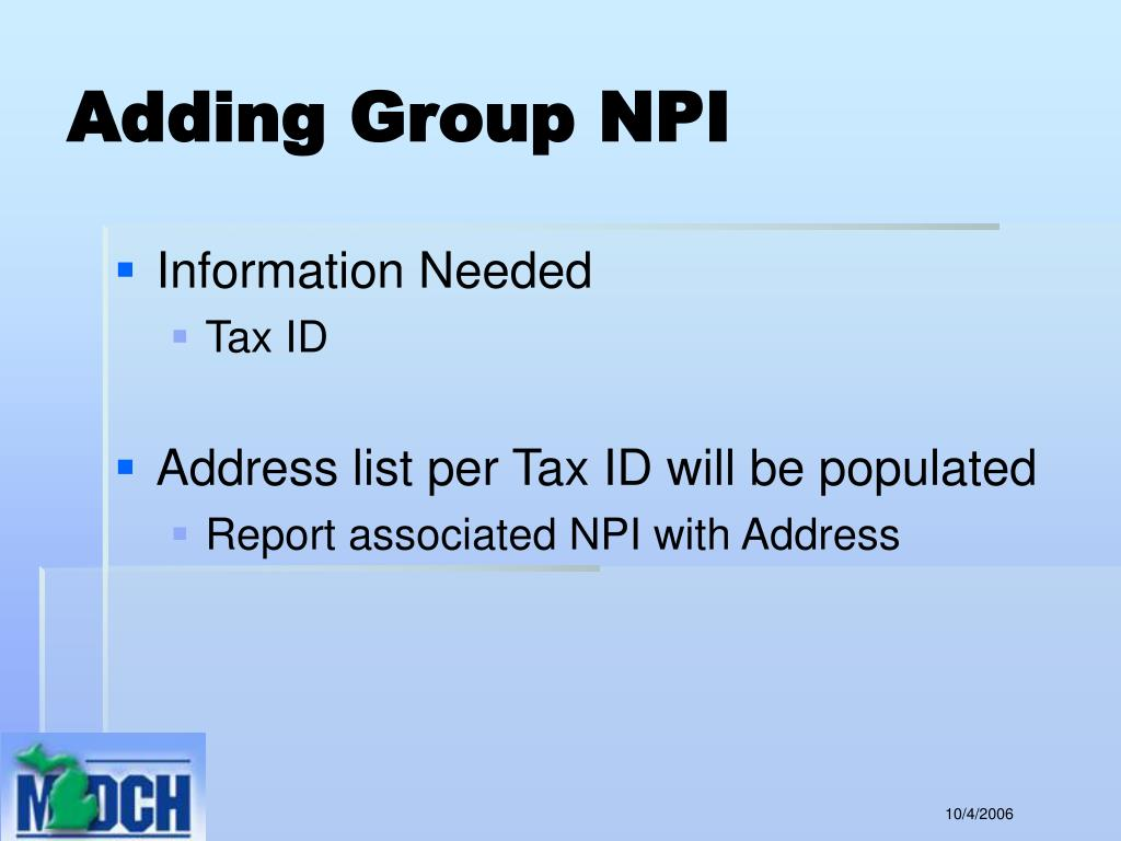 Adding Group NPI