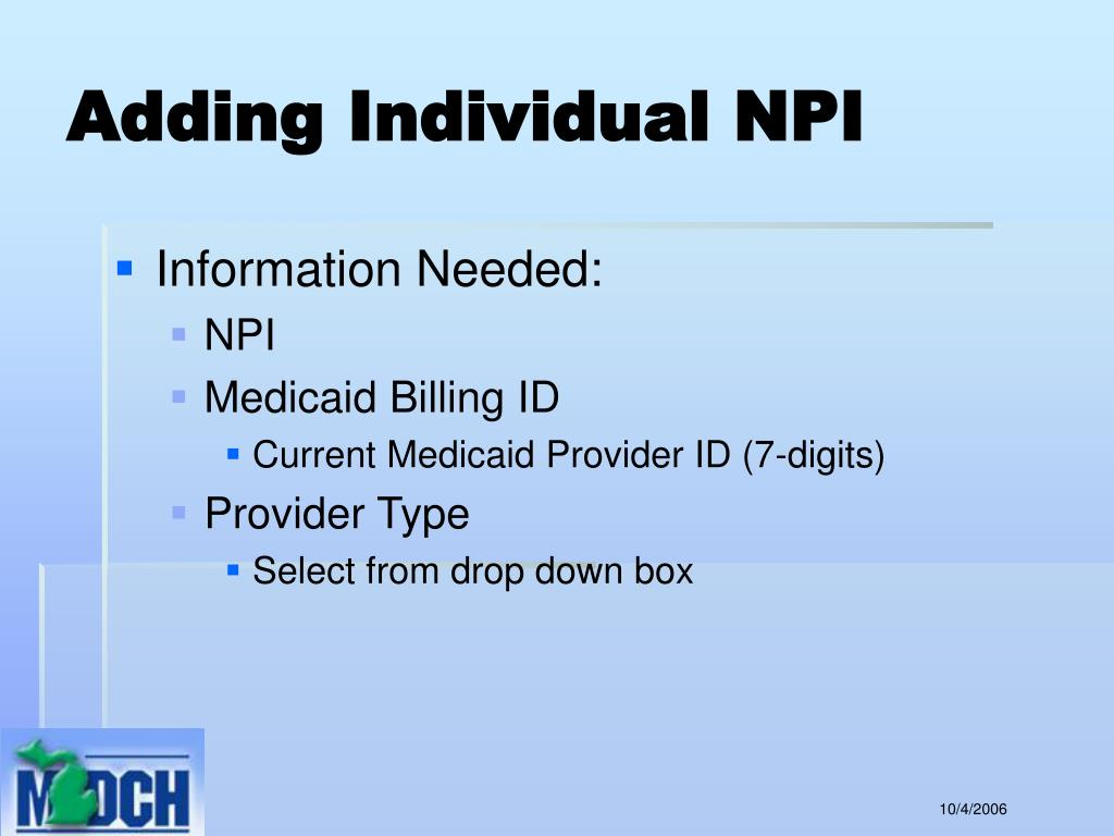 Adding Individual NPI