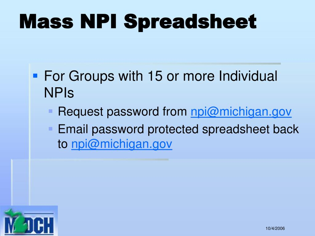 Mass NPI Spreadsheet