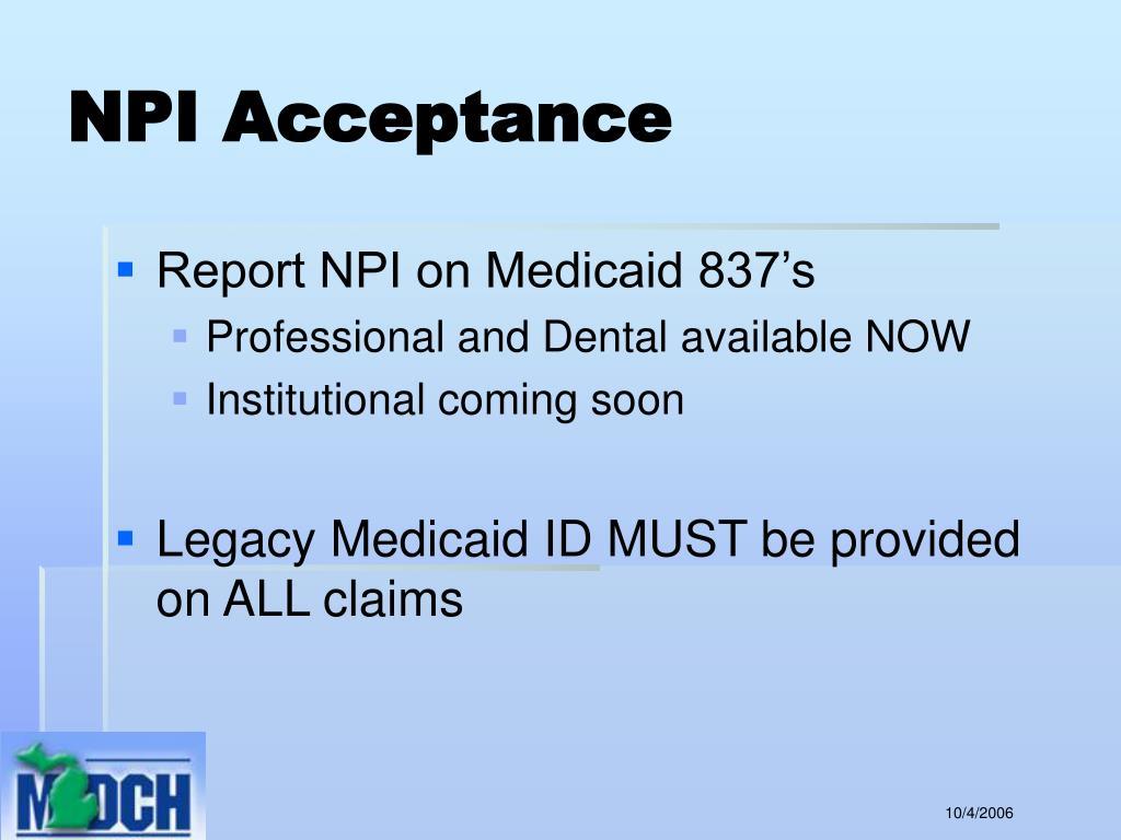NPI Acceptance