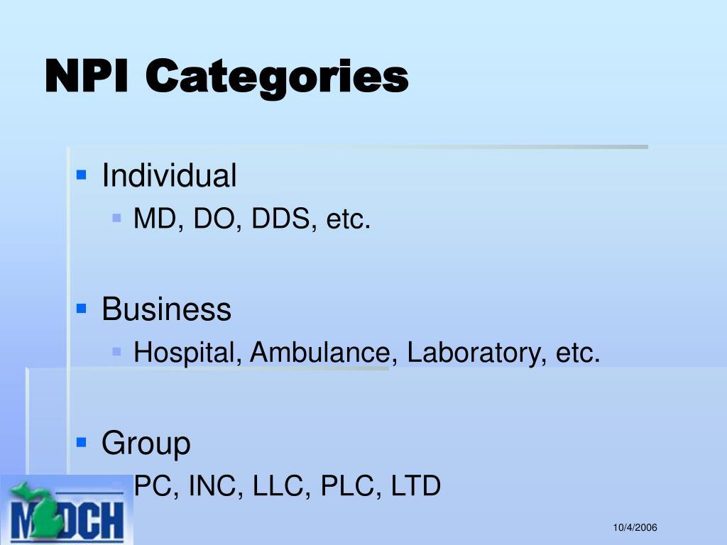 NPI Categories