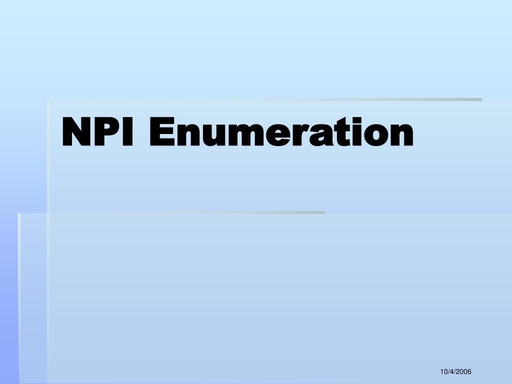 NPI Enumeration
