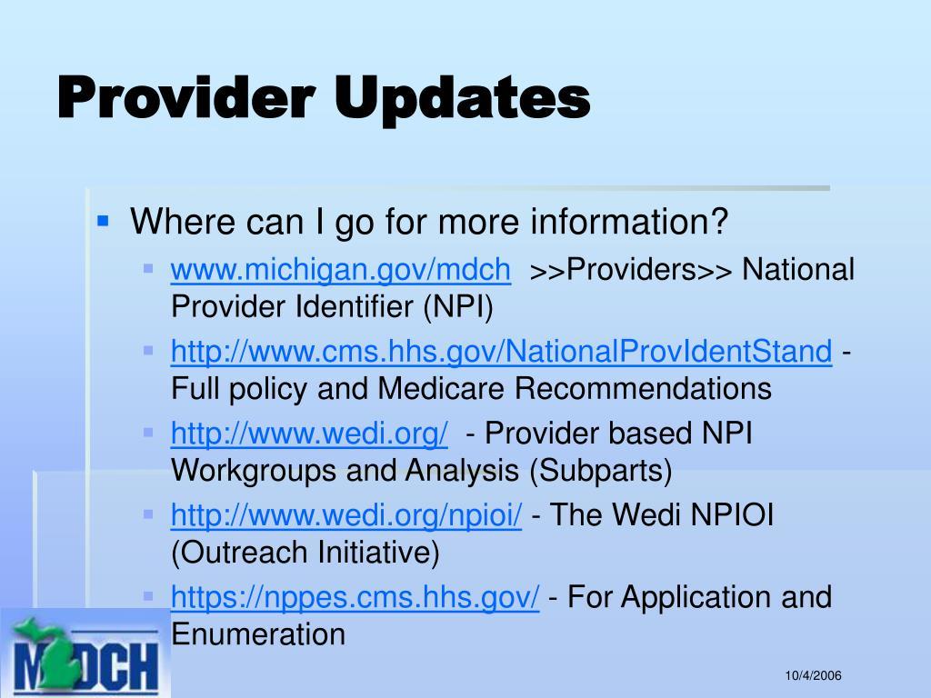 Provider Updates