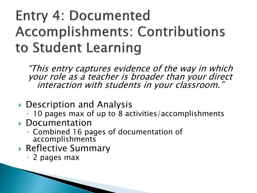 Entry 4: Documented Accomplishments: Contributions to Student Learning