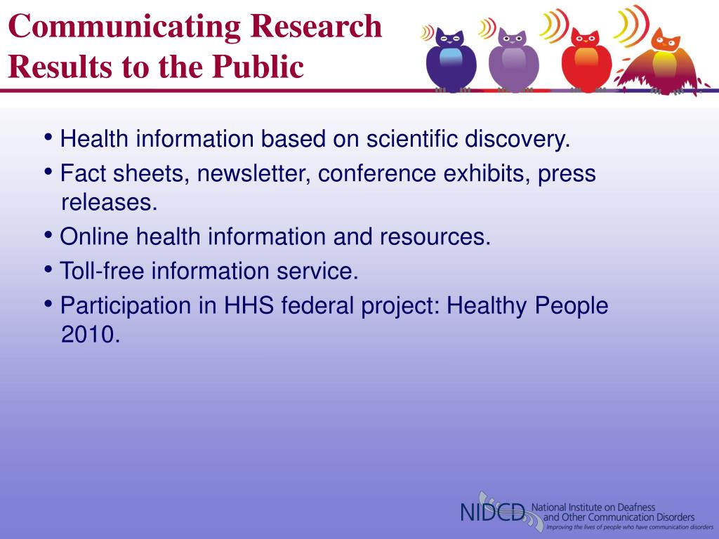 Communicating Research Results to the Public
