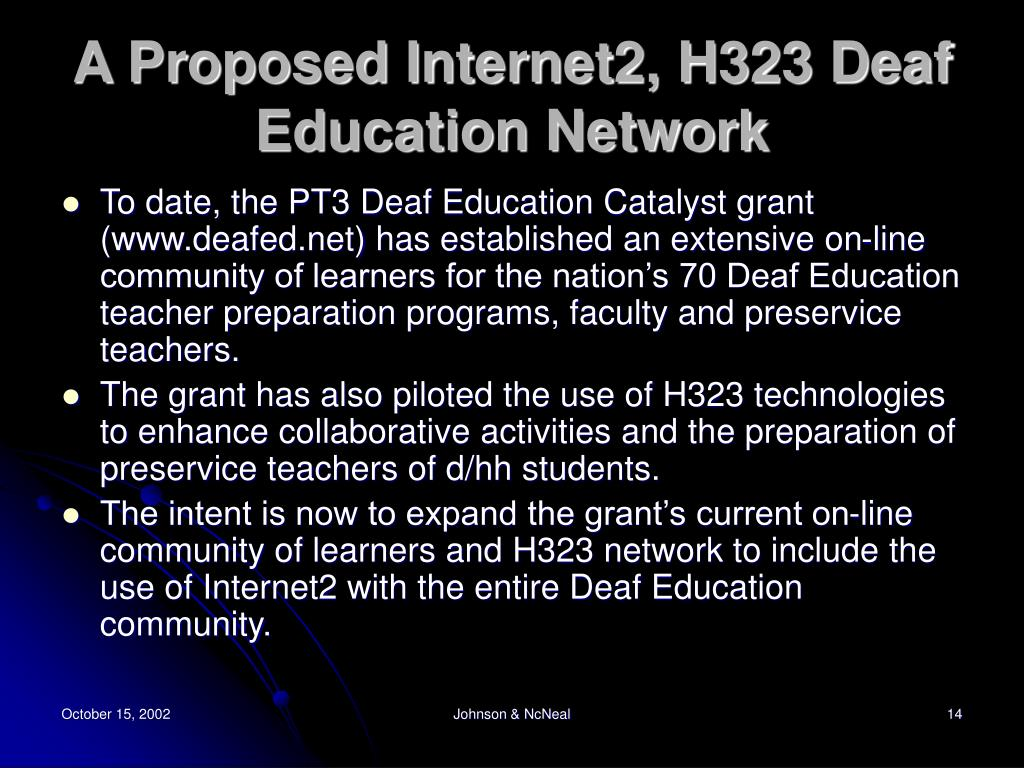 A Proposed Internet2, H323 Deaf Education Network