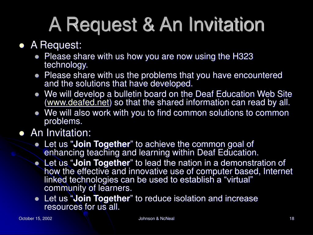 A Request & An Invitation