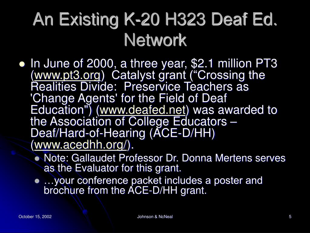 An Existing K-20 H323 Deaf Ed. Network
